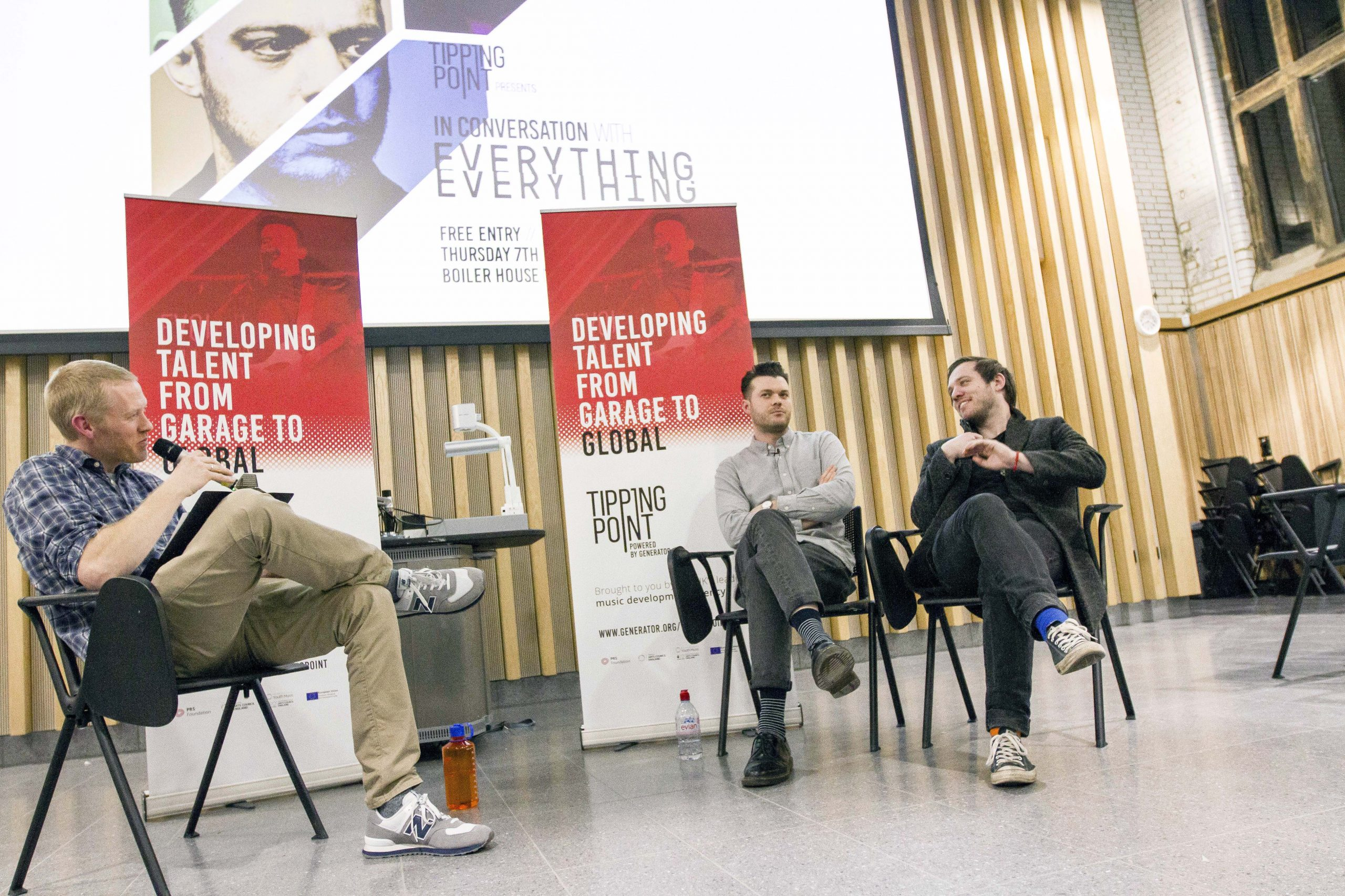 everything everything band taking part in a live interview at a tipping point event in 2019